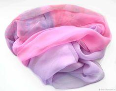 """Шелковый шарф """"Лиловый закат"""" шелк, шифон, батик – купить в интернет-магазине на Ярмарке Мастеров с доставкой - DEYL7RU"""