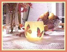 Simple decoupage candle holders from wrapping paper cut-outs.