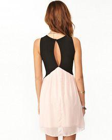 Black Pink Deep V Neck Hollow Chiffon Dress - Sheinside.com