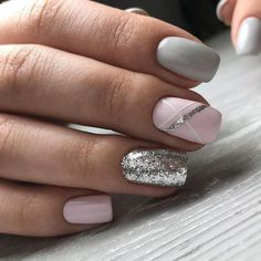 Beauty Nails – Nail Art Design Nagellack # Nagellack # Nageldesign - Make-up Geheimnisse Beauty Nails - Nail Art Design Esmaltes # Esmaltes # Nail Design de unha Fancy Nails, Trendy Nails, Diy Nails, Cute Nails, Pink Shellac Nails, Pink Grey Nails, Grey Gel Nails, Gray Nail Art, Classy Nails