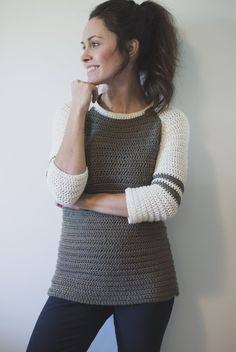Hey guys! I am so incredibly excited to share my latest sweater pattern!!! It's called the Varsity Sweater, and I know you are going to LOVE it!