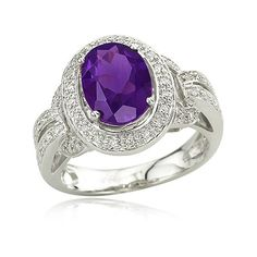 VINTAGE RINGS | Amethyst With Diamond Ring