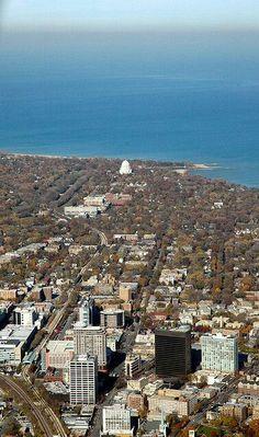 Evanston, Wilmette and the Bahai Temple. My childhood neighborhood. Chicago Skyline, Paris Skyline, Chicago Chicago, Chicago Bears, Evanston Illinois, Skokie Illinois, Chicago Photos, Northwestern University, Chicago Travel