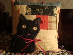 Black Cat On Log Cabin Quilt Pillow