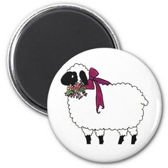 Black and white sheep with flowers post cards elegant easter gifts easter sheep fridge magnets negle Image collections