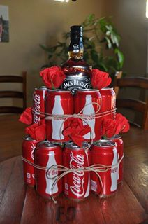 ~ GIFT IDEAS ~ Jack Daniels and canned Coca Cola's designed into a cake formation