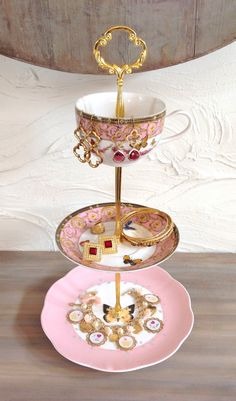 RESERVED FOR JAIMIE Pink Butterfly China Cake Tier, 3 Tier Cake Stand for…