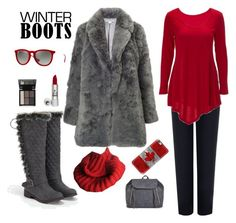 """Grey Winter Boots"" by knitsbynat on Polyvore featuring WearAll, ZuZu Luxe, Ray-Ban, JustFab and Casetify"