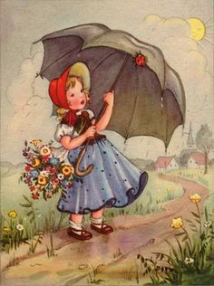 Solve Spring Rain jigsaw puzzle online with 88 pieces Vintage Greeting Cards, Vintage Ephemera, Vintage Postcards, Vintage Pictures, Vintage Images, Pretty Pictures, Tatouage Mama, Retro Kids, Baby Painting