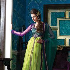 Blue and Fluorescent Green Net Anarkali Churidar Kameez
