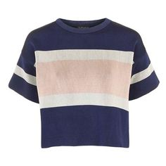 Topshop Modern Stripe Boxy Tee (2.740 RUB) ❤ liked on Polyvore featuring tops, t-shirts, shirts, crop tops, crew neck t shirt, striped tee, short-sleeve shirt, crewneck shirts and short sleeve crew neck t shirt