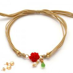 Pulsera Hilos Rosa Roja | Dulce Encanto accesorios para mujer.