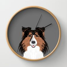 Jordan - Shetland Sheep Dog gifts for sheltie owners and dog people gift ideas perfect dog gifts Wall Clock by PetFriendly - $30.00
