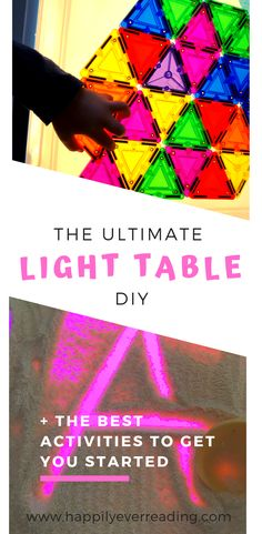 My kids love, love, love this DIY light table. It is so much fun and a great educational resource to have in your home. This light box is special because it changes color! The effects are mesmeri… Light Table For Kids, Diy Light Table, Diy Table, Fun Crafts To Do, Crafts For Kids, Sensory Lights, Rainbow Writing, Fun Activities For Kids, Learning Activities
