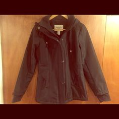 American Rag Parka Jacket Black Fitted American Rag Parka Jacket with hood. Sized Medium, fits Small/Medium. I have a 36 C chest and I am 5'2 and it's a bit snug. I weigh 160 pounds. American Rag Jackets & Coats Utility Jackets