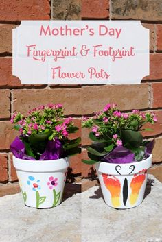 http://TheInspiredHome.org // Using a few dollar store items, you can make a beautiful Mother's Day flower pot with your baby or toddler using their fingers and toes!