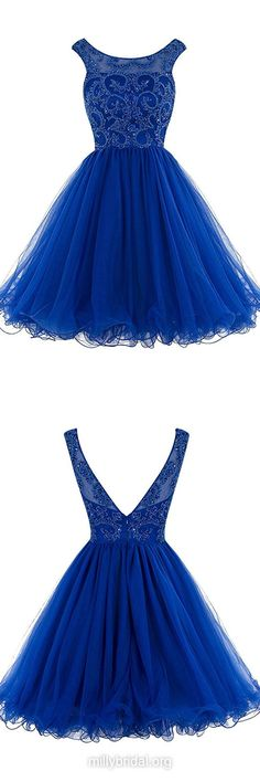 Discounted Royal Blue Homecoming Dresses,A-line Scoop Neck Short Prom Dresses, Tulle Short/Mini Formal Party Gowns,Beading Backless Cocktail Dress