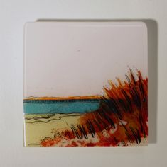 Sparkle Beyond the Crimson by Alice Benvie Gebhart. This fused glass panel is a one-of-a-kind depiction for your wall. All the color in this piece comes from layering cut glass then firing the glass in a kiln. This piece has been processed multiple times in the kiln, giving the work depth and dimension. Textural and gestural lines in gold and black are fired into the glass surface to add detail and movement. The piece is created to be displayed projected from your wall, so to emphasize the…