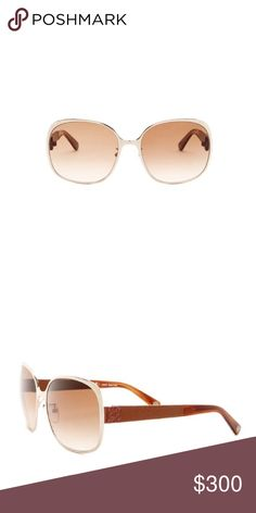Loewe Women's Sunglasses Loewe Women's Sunglasses.  NWT.  These oversized glasses are so chic!  Size 59-18-135mm (eye-bridge-temple).  Frame color is gold/brown.  Lens color:  brown gradient.  💯 % UVA/UVB protection.  Case and cleaning cloth included.  Made in Italy. Loewe Accessories Sunglasses