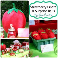 Sew Can Do: Tutorial Time: Strawberry Party Piñata & Surprise Ball Favors