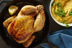 Roast chicken with tahini squash puree. Whiz any cooked squash with tahini, lemon, and garlic for hummus-like spread that tastes great with roast chicken. Tahini, Pureed Food Recipes, Cooking Recipes, Healthy Recipes, Yummy Recipes, Bon Appetit, Roast Chicken Recipes, Roasted Chicken, Chicken Recepies