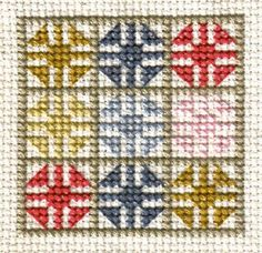 Stitched Model of the Free Friendship Quilt Block Pattern - Cross Stitch Photo