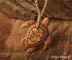 Natural Koa Wood Turtle Necklace - Makani Hawaii,Hawaiian Heirloom Jewelry Wholesaler and Manufacturer
