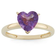 1 3/4 Tcw Tiara Heart-cut Amethyst Ring in 10k Yellow Gold - (9)