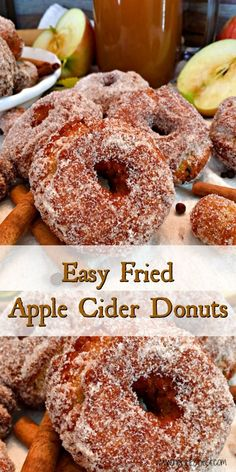 Fried Apple Cider Donuts Are Filled With The Flavors Of Fall A Scrumptious Deep Fried Treat Made With Sweet Tangy Boiled Apple Cider With Hints Of Warm Spices Tender And Moist Inside, Golden And Crispy Outside. The Perfect Family Fall Tradition Apple Cider Doughnut Recipe, Donut Recipes, Apple Recipes, Fall Recipes, Deep Fried Donut Recipe, Deep Fried Donuts, Pastry Recipes, Delicious Desserts, Dessert Recipes