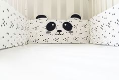Black & White Panda Crib Bumper Pad.  This beautiful black & white panda fabric Crib Bumper is a must have practical and stylish design object in