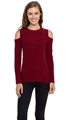 Womens Cold Shoulder Knitted Top  Long Sleeve Pullover Sweater Velucci Burgundy L *** You can get additional details at the image link. (This is an affiliate link)