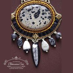"Set with jasper, laurvikit, orthoceras, japan seed beads.  Комплект из яшмы ""далматин"",яшмы ""зебры"", ларвикита, японского бисера.  #мастерская_син #sinbead #sinbeadjewelry #jewellery #necklace #bracelet #earrings #украшения #бижутерия #серьги #кулон #колье #браслет  (в Мастерская Светланы Син)"