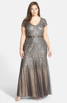 Beaded Cap Sleeve Gown (Plus Size)