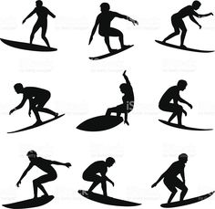 Surfer Silhouettes royalty-free stock vector art