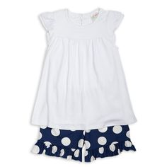 White Cotton Navy Dot Ruffle Short Set – Lolly Wolly Doodle (for Friday night football games while it's still hot)