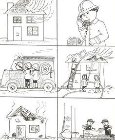Deutsch, Geschichte, Bildergeschichte, 6 Bilder, Bild, Reihenfolge, schreiben, erzählen, Feuerwehr Brand Haus brennt löschen, Vorschule, Klasse 1 2 3 4