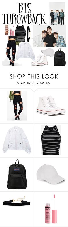 """BTS"" by lauralydix ❤ liked on Polyvore featuring Boohoo, Converse, JanSport, Le Amonie and Charlotte Russe"