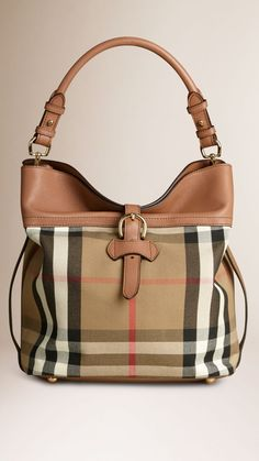 Medium Buckle Detail House Check Hobo Bag