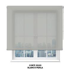 Estor screen Corti 3000 en color blanco-perla de Cortinadecor.