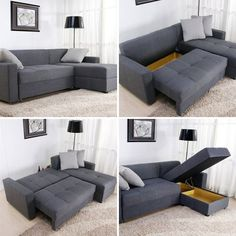 Convertible sectional sofa AND storage. Small Space Solutions: 12 Cool Pieces of Convertible Furniture Tiny House Furniture, Sectional Sofa, Home Furniture, Furniture For Small Spaces, Living Room Decor, Home Decor, Convertible Furniture, Apartment Decor, Small Space Living
