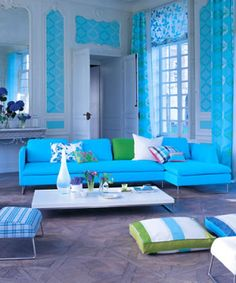 WOW! Love the Blue and green! Gorgeous room.  Designers Guild: Brera fabrics collection.