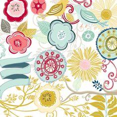 レトロなクリップ アートモダンなフラワー アート 渦と繁栄のイラストカードを作る花の画像DIY by FishScraps