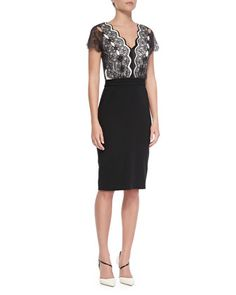 Short-Sleeve+Lace-Bodice+Cocktail+Dress,+Black/Cream+by+Catherine+Deane+at+Neiman+Marcus.