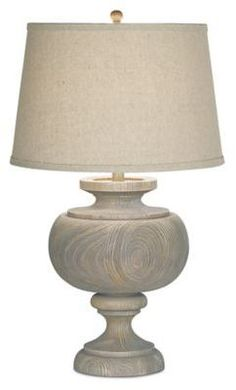 Upgrade any room's décor with this Pacific Coast Lighting Kathy Ireland Grand Maison Table Lamp. This large table lamp's graceful curves and weathered woodland finish create a soft, serene atmosphere. The beige linen shade tops it off perfectly. Large Table Lamps, Grey Table Lamps, Buffet Lamps, Table Lamp Wood, Light Table, Transitional Table Lamps, Coastal Living Rooms, Coastal Bedrooms, Wooden Lamp