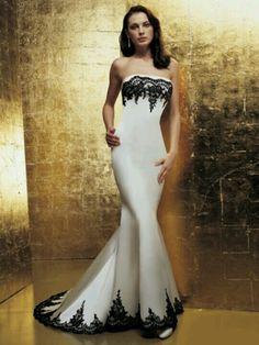 Stunning Wedding Red, Black & White ☆ Black & White Wedding Dress