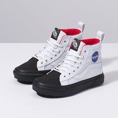 Shop UY MTE (NASA) WHT/BLK from Vans Shoes Online. Free & fast deliveries with Buy Now & Pay Later available online, or visit us in-store. Vans Shoes Fashion, Shoes Sneakers, Moon Boots, Aesthetic Shoes, Vans Shop, Hype Shoes, Rubber Shoes, Painted Shoes, Luxury Shoes