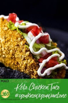 Mad Creations Keto Chicken Taco is perfection! Pork rind Crumbed Chicken Taco Shell Mad Creations Keto Chicken Taco is perfection! Low Carb Chicken Recipes, Low Carb Recipes, Keto Chicken, Healthy Recipes, Banting Recipes, Atkins Recipes, Protein Recipes, Potato Recipes, Healthy Eats