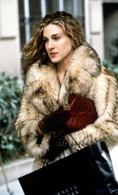 Seriously can someone make a faux fur version of this coat, pls?  So amazing.  Sarah Jessica Parker as Carrie Bradshaw.