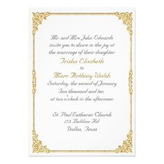 Elegant Gold Framed Wedding Invitation