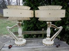 VINTAGE Sign+Dated 1956 PREMCO Harp Shaped Lamp Pair w 3 Tier Fiberglass Shades-